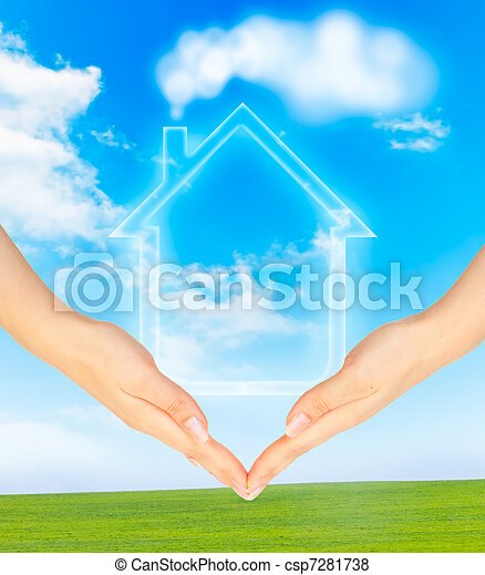 Hands holding model of a house - csp7281738
