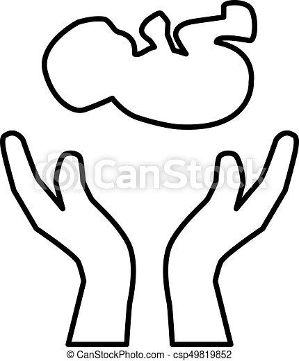 Hands Holding Newborn Child Hands Holding Embryo Or Newborn Child