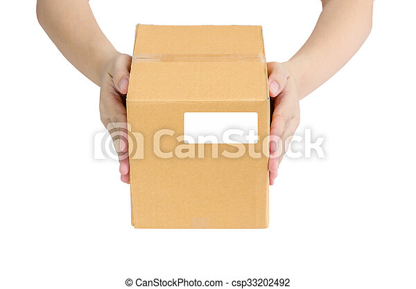 Hands holding paper box - csp33202492