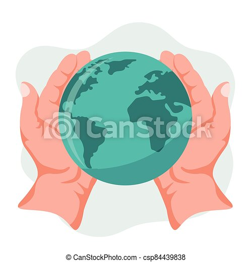 Hands holding planet earth - csp84439838