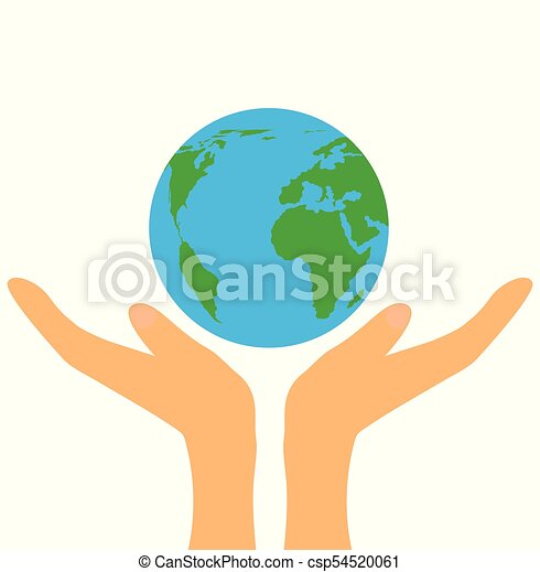 Hands Holding Planet Earth Flat Design - csp54520061
