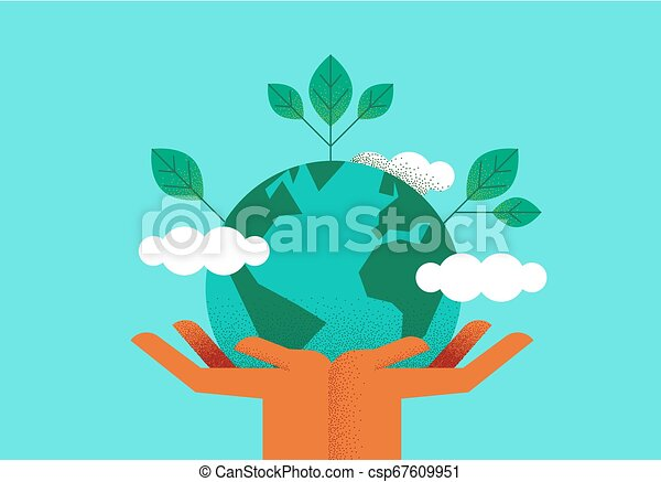 Hands holding planet earth for environment care - csp67609951