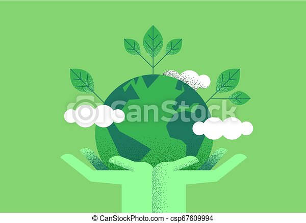 Hands holding planet earth for environment care - csp67609994