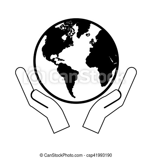 hands holding planet earth icon image - csp41993190