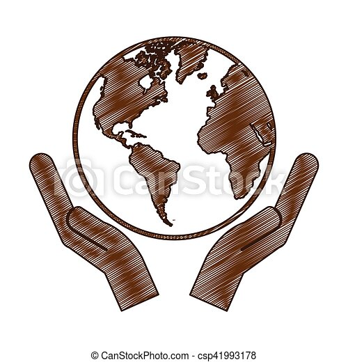 hands holding planet earth icon image - csp41993178