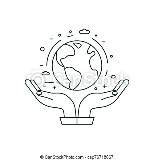 Hands Holding Planet Earth Icon in Line Art - csp76718667