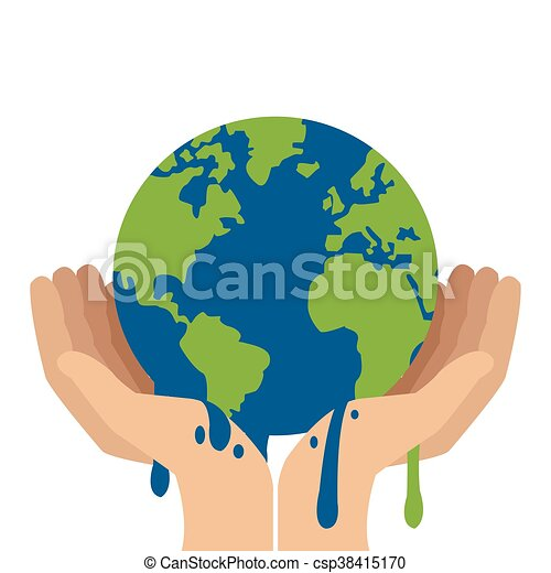 hands holding planet earth melting icon - csp38415170