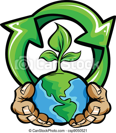 cartoon vector image of a hands holding planet earth with a green