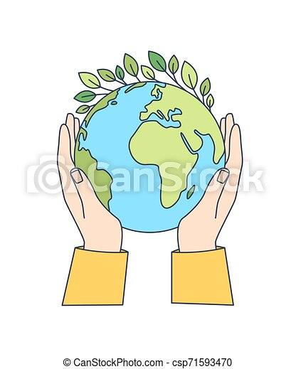 Hands holding planet Earth with green leaves growing on it isolated on white background. Ecological movement, ecology support, responsibility for nature. Modern vector illustration in line art style. - csp71593470