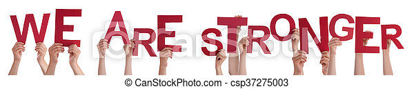 Hands Holding Red Word We Are Stronger - csp37275003