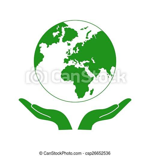 Hands holding the green earth globe vector illustration on ... Green Earth Logo Vector