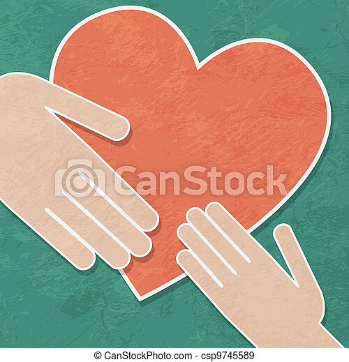 hands holding the heart. charity - csp9745589