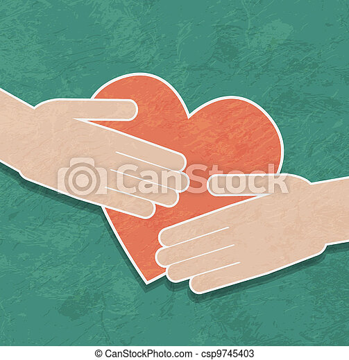 hands holding the heart. charity - csp9745403
