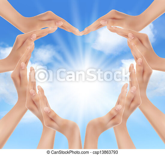 Hands holding the sun. Vector illustration.  - csp13863793