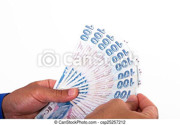 Hands Holding Turkish Lira Banknotes - csp25257212