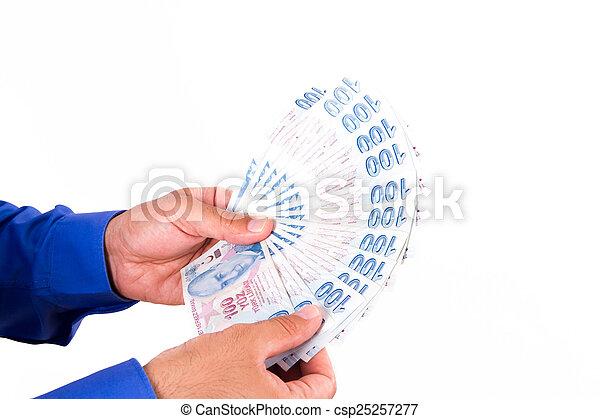 Hands Holding Turkish Lira Banknotes - csp25257277