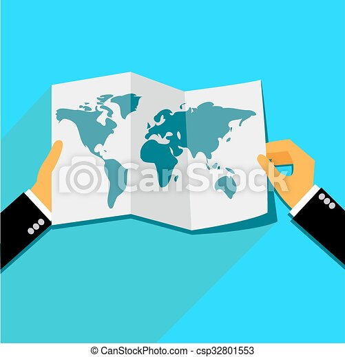Hands holding world map in flat style for web hands holding world map csp32801553 gumiabroncs Choice Image