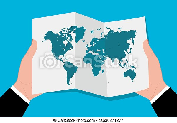 Hands holding world map in flat style vector illustration vectors hands holding world map in flat csp36271277 gumiabroncs Gallery