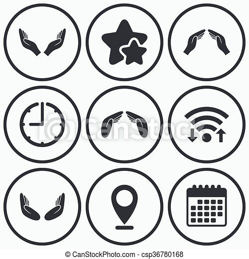 Hands Icons Insurance And Meditation Symbols Clock Wifi And Stars