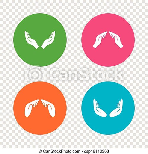 Hands Icons Insurance And Meditation Symbols Hands Icons