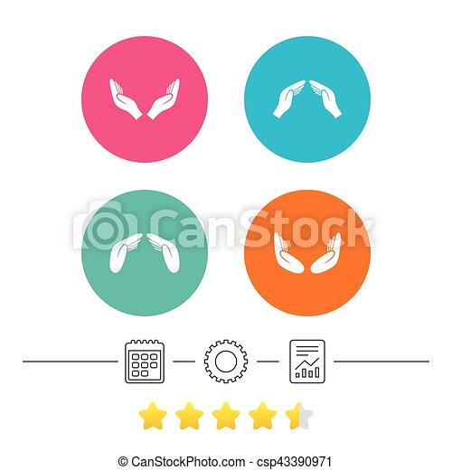 Hands icons. Insurance and meditation symbols. - csp43390971