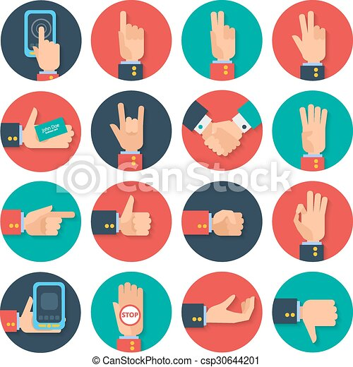 Hands Icons Set Flat Body Language Hand Gestures Icons Tablet Apps