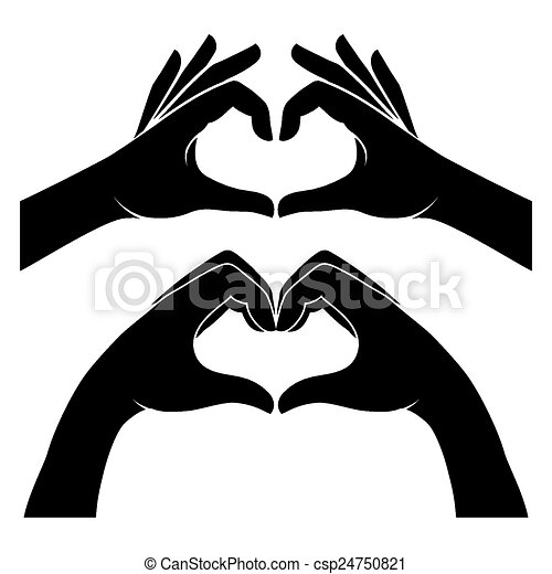 hands in form of heart two black silhouette hands form a heart