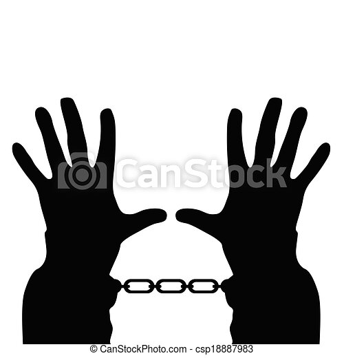 hands in handcuffs vector silhouette - csp18887983