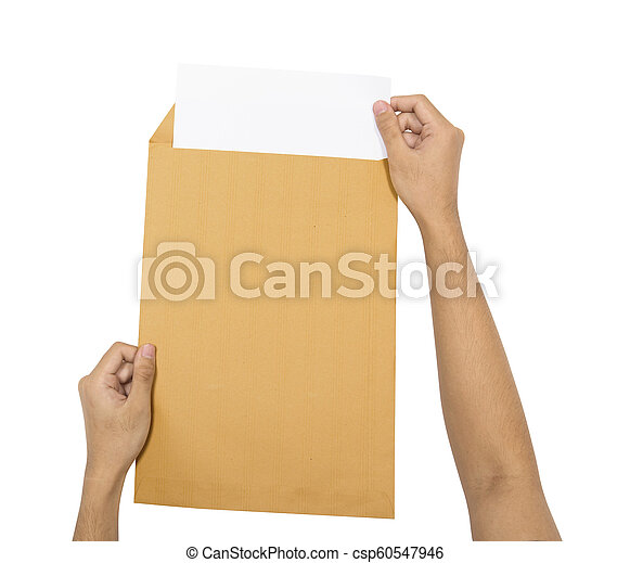Hands insert the paper into brown envelope - csp60547946