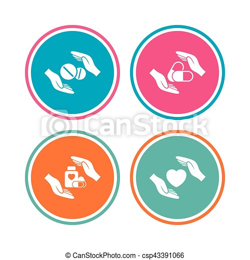 Hands insurance icons. Health medical pills. - csp43391066