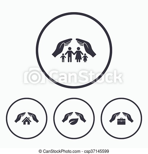 Hands Insurance Icons Human Life Assurance Hands Insurance Icons
