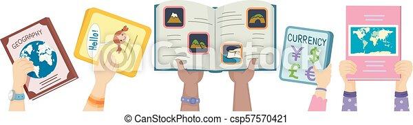 Hands Kids Geography Books Up Illustration - csp57570421