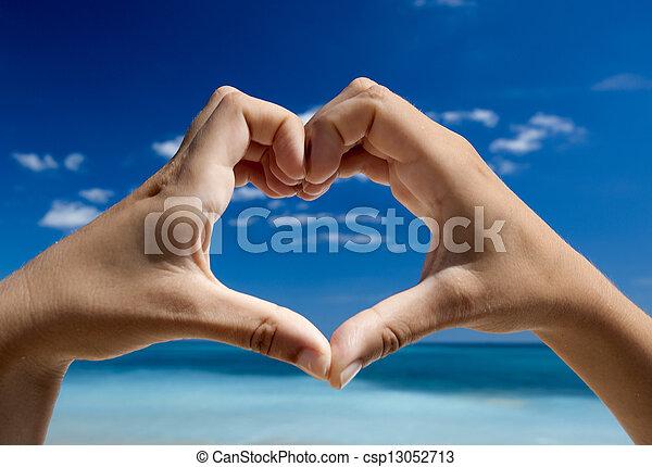Hands making a heart shape - csp13052713