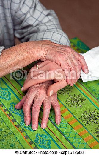 Hands of a nurse and a former senior - csp1512688
