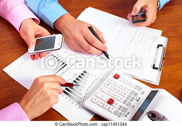 Hands of accountant business woman. - csp11451344