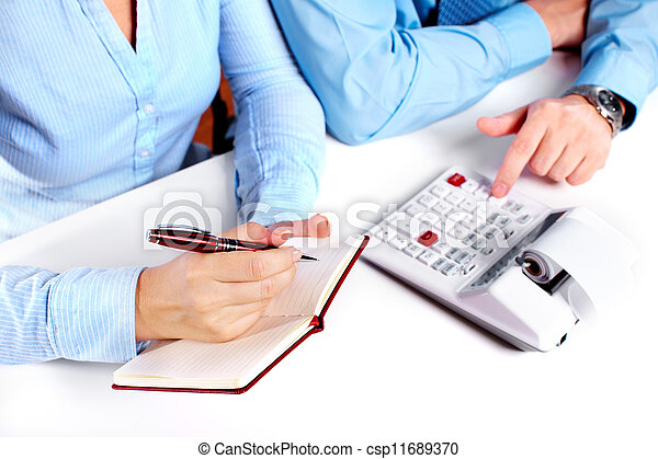 Hands of business person working with calculator. - csp11689370