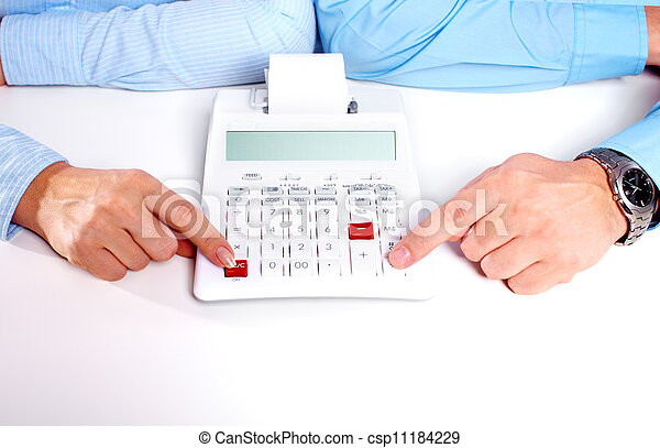 Hands of business person working with calculator. - csp11184229