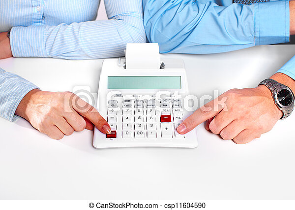 Hands of business person working with calculator. - csp11604590