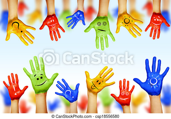 hands of different colors. cultural and ethnic diversity - csp18556580