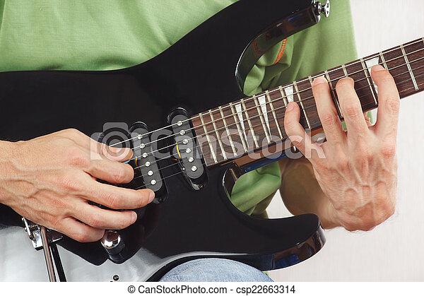 Hands Of Guitarist Put Guitar Chords Closeup Stock Photography