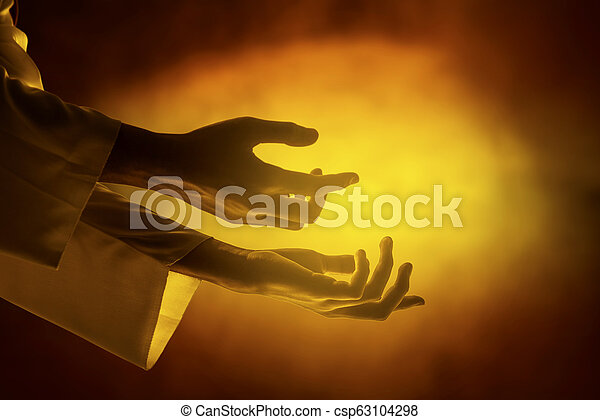 Hands of Jesus christ with open palm - csp63104298