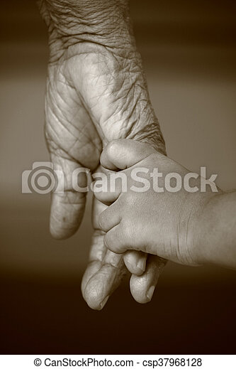 Hands of two generation - csp37968128