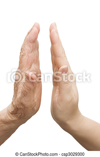 Hands of young woman and elderly man - csp3029300