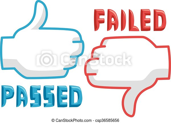 hands pass fail icons thumbs up thumbs down illustration featuring