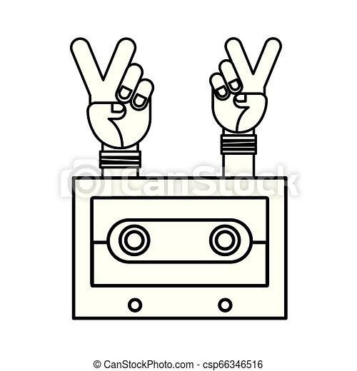 hands peace and love cassette hippie retro - csp66346516