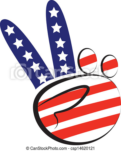 Hands Peace Symbol With Usa Flag Colors Icon Logo Vector
