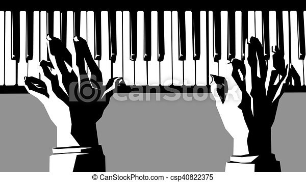 Vector Hands Playing The Piano