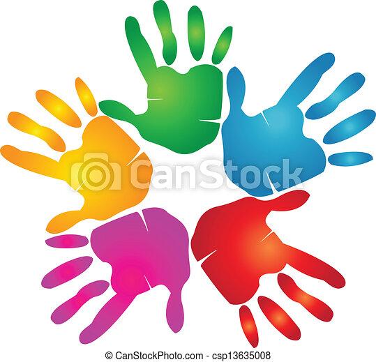 Hands print in vivid colors logo - csp13635008