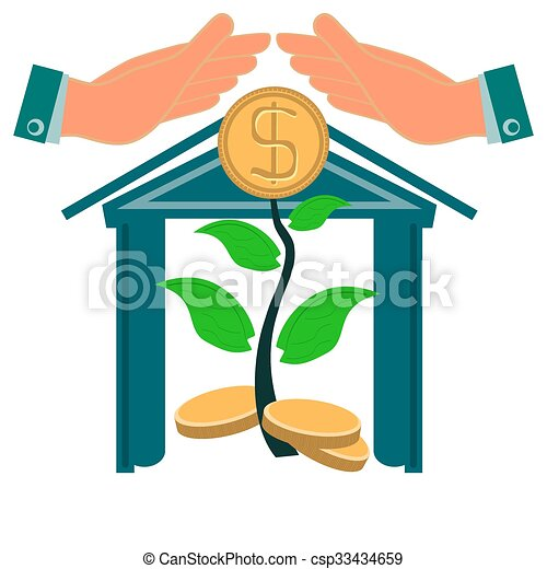 hands protect a young tree with gold coins the increase of rh canstockphoto com Detective Clip Art Helmet Clip Art