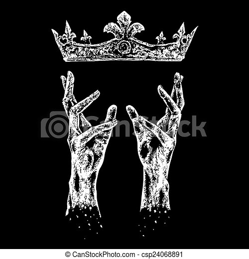 hands reaching for crown black and white illustration